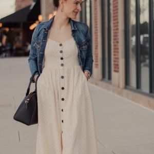 Urban Outfitters cream eyelet dress mid calf 2018